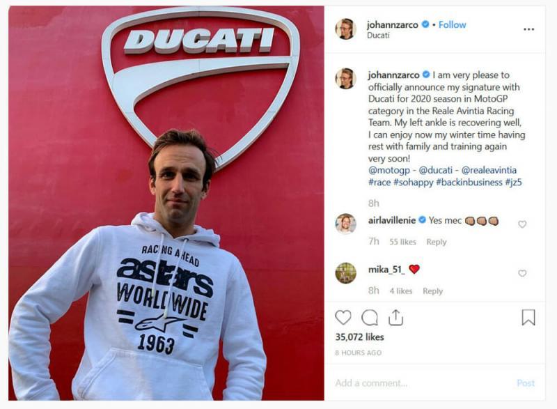 Johann Zarco, musim depan di-support Ducati via Avintia. (Foto: instagram Johann Zarco)