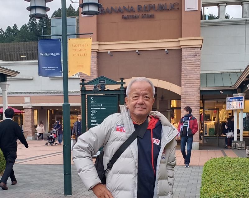 Memet Djumhana saat menikmati rekreasi di Banana Republic, Gotenba, Jepang, Jumat hari ini