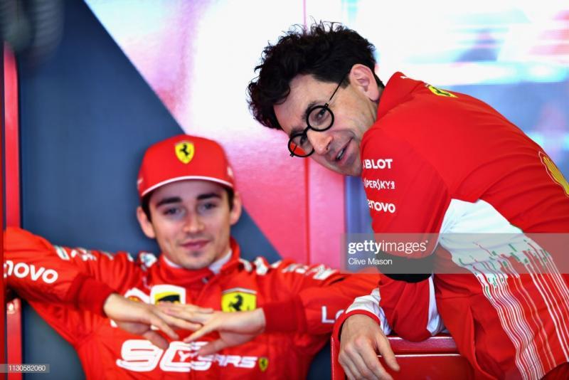 Maittia Binotto dan Charles Leclerc, bagian penting reformasi Ferrari di awal 2019. (Foto: gettyimages)
