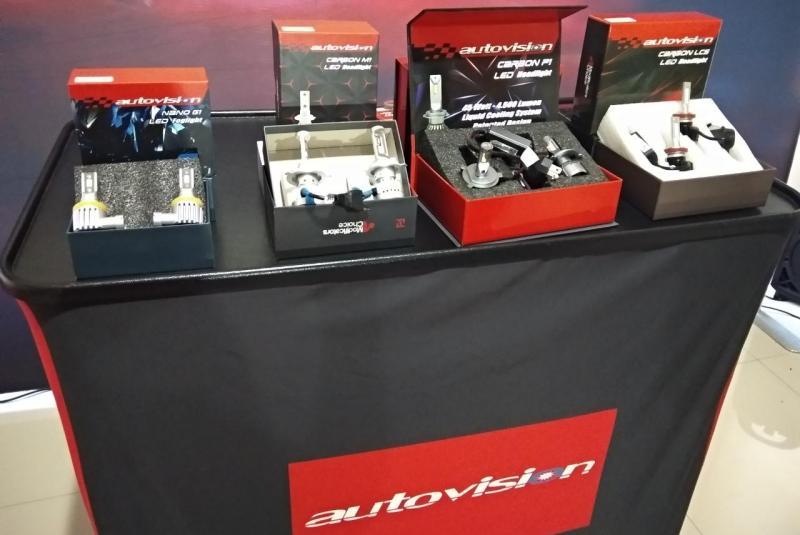 Produk terbarunya mulai dari LED Headlight Carbon M1, Carbon P1, Carbon LCS dan LED Foglight Nano G1.(ist)