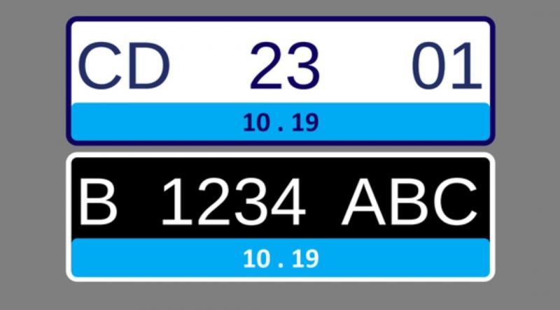 Unsur warna biru dominan dan khas pada pelat nomor kendaraan listrik yang dikeluarkan Korlantas Polri