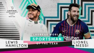 Lewis Hamilton (Mercedes F1) dan Lionel Messi (Barcelona FC), kembar terbaik di Berlin, Jerman. (Foto: ist)