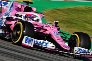 Sergio Perez (Meksiko) bawa sensasi tes dengan tim Racing Point bermesin Mercedes. (Foto: crash)
