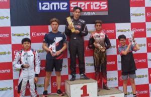 Prassetyo Hardja juara 1 dan Sergio Noor juara keempat IAME Asia Series Sentul. (foto : bs)