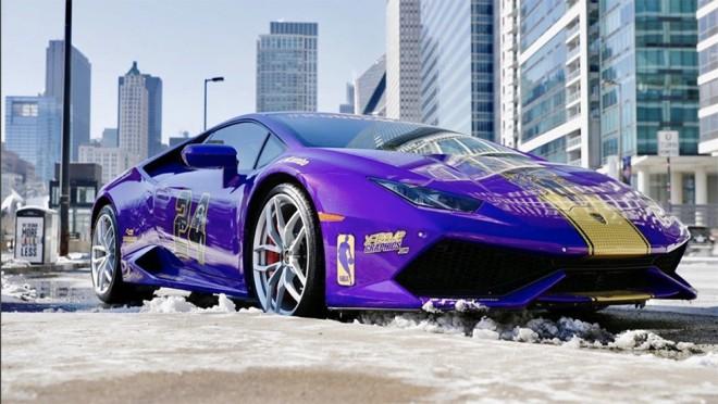 Lamborghini Huracan dengan balutan warna LA Lakers untuk mengenang mendiang Kobe Bryant (ist)