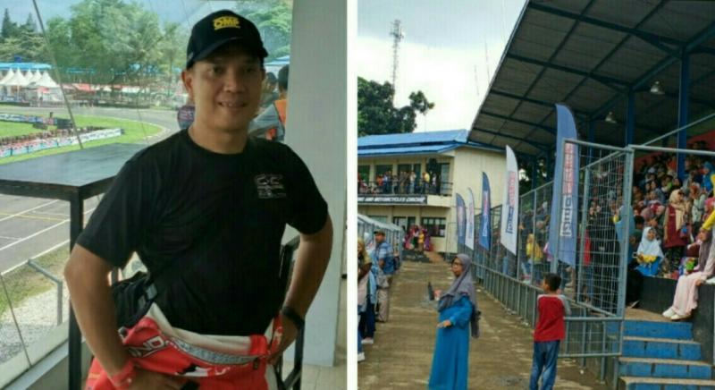 Eris Mahpud (kiri) dan penonton yang memenuhi tribun di Sentul International Karting Circuit, Bogor. (foto : bs)
