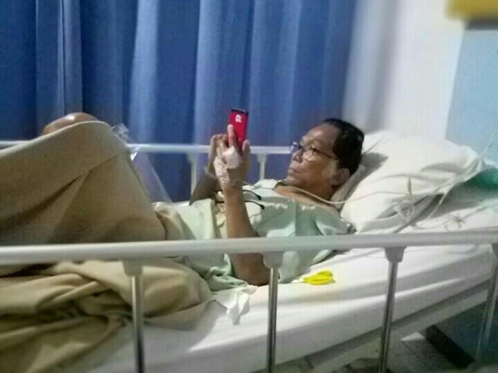 Iwan Semut Ireng selesai dilakukan operasi di RS Sentra Medika Cibinong, Bogor.