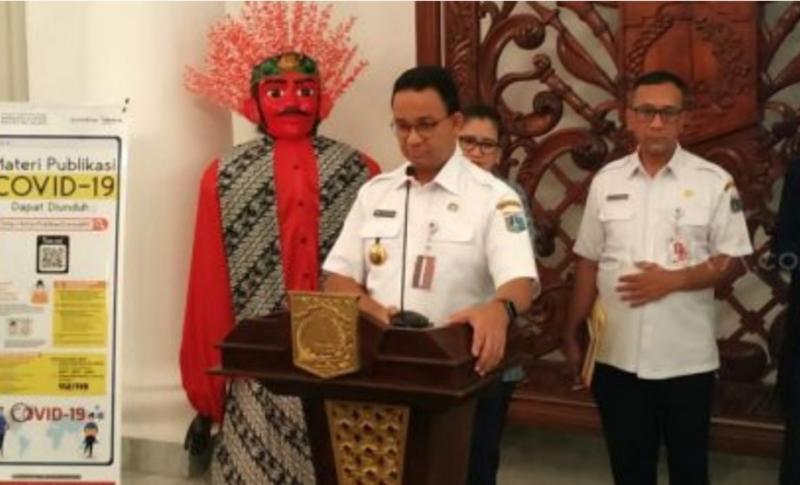 Anies Baswedan saat menyampaikan penundaan Formula E Jakarta di Balai Kota DKI