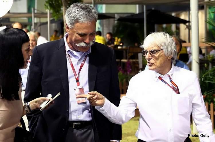 Bernie Ecclestone (kiri) bersama CEO Liberty Media Chase Carey. (Foto: gettyimage-gp247)