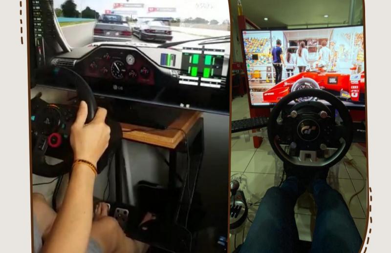 Jimmy Lukita (kiri) dan Fitra Eri (kanan) usir bosan dengan bermain racing simulator. (Foto : kolase)