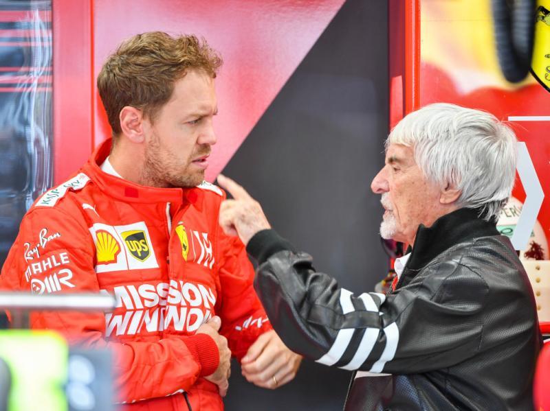 Sebastian Vettel (kiri) dan Bernie Ecclestone, sarankan tinggalkan Ferrari.
