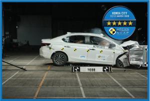 Honda City adalah model pertama Honda yang diuji oleh ASEAN NCAP pada tahun 2012 dan telah mempertahankan kinerja keselamatan bintang 5 yang sangat baik sejak generasi ke-2. (dok. Honda)