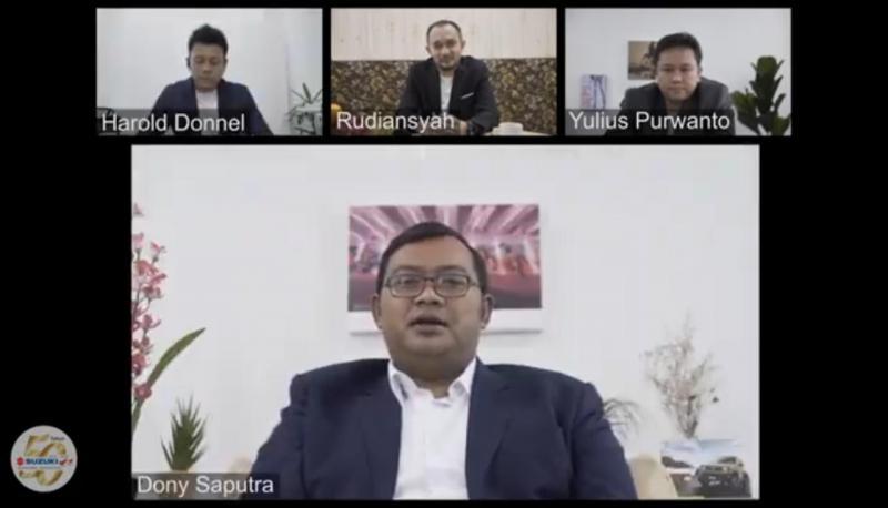 Manajemen PT. Suzuki Indomobil Sales (SIS) dalam konferensi pers virtual New Ignis, menjadi salah satu pabrikan nasional yang merasa terbantu berkat usulan stimulus dari Kemenperin. (captured: anto)