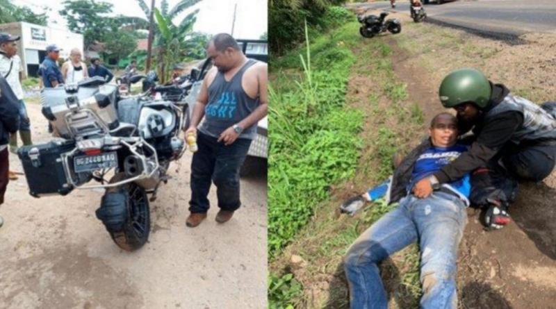 Moge BMW ringsek setelah alami kecelakaan (kiri), Mantan Bupati Muba H Pahri Azhari dibantu kawannya (kanan). foto : ist