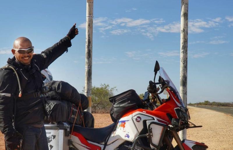 Kali ini Kang JJ bermotor keliling dunia menggunakan tunggangan Honda CRF 1000L2 Africa Twin Adventure Sport DCT. (Dok. @jjwinrider)