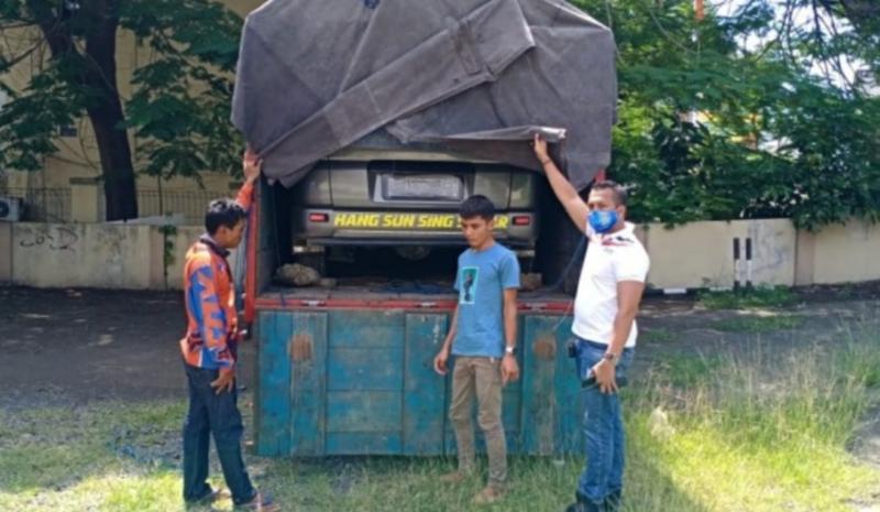 Pemudik nyewa truk untuk mengangkut mobil beserta 3 pemudik ke Lampung ditangkap polisi di Banten. (foto : ist)
