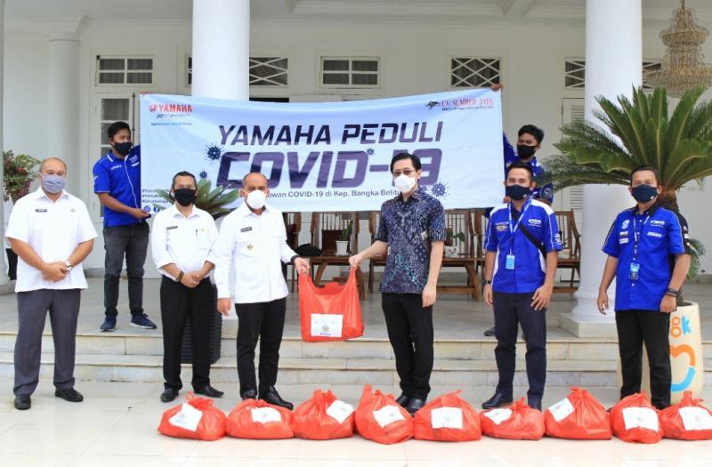 Yamaha Peduli di Bangka Belitung dengan produksi sendiri Face Shield dan Disinfektan