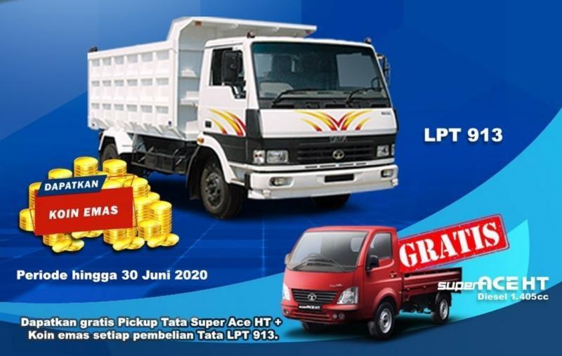 Truk Tata LPT 913, adalah truk heavy duty ringan dengan payload 10 ton. Kapasitas mesinnya 5.700 cc konfigurasi 6 silinder dengan tenaga 128,5 HP pada 2.400 rpm. (Tata motors id)