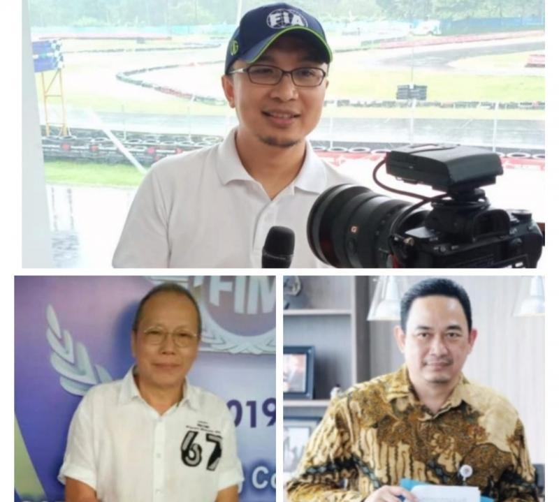 Nara sumber Bincang Rame Otomotif secara virtual dari kiri atas searah jarum jam : Sadikin Aksa, Agus Hardja Santana dan Jeffrey JP. (kolase):