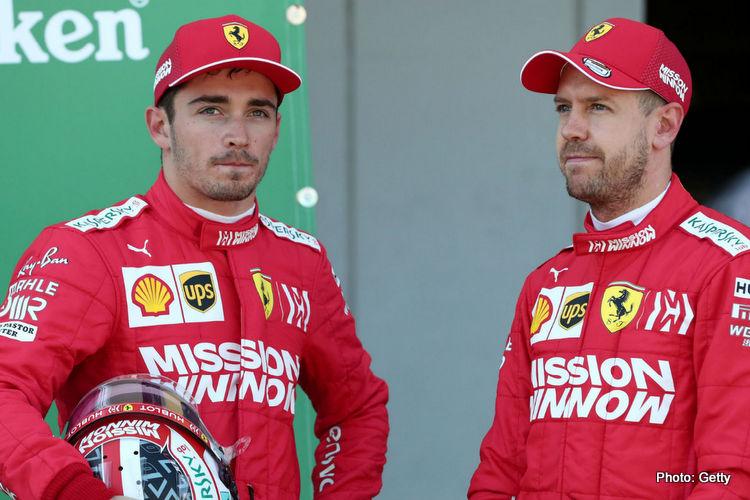 Charles Leclerc dan Sebastian Vettel, drama seri kedua pada tahun ini di Ferrari. (Foto: gettyimages-grandprix247)