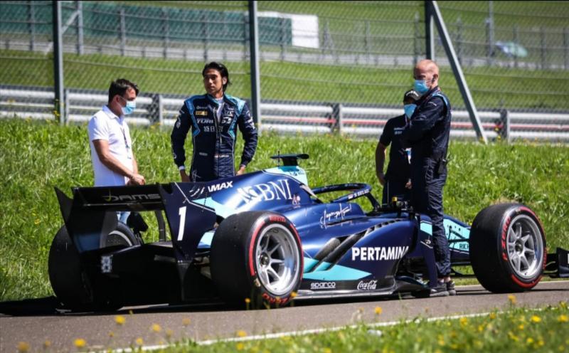 Kendala teknis dialami Sean Gelael dalam 2 race F2 di sirkuit Red Bull Ring Austria