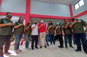 Tim Enviro IMI DKI bersama Mensos Juliari Batubara dan Ketua KONI DKI di Pusdiklat Kemensos Jaksel.
