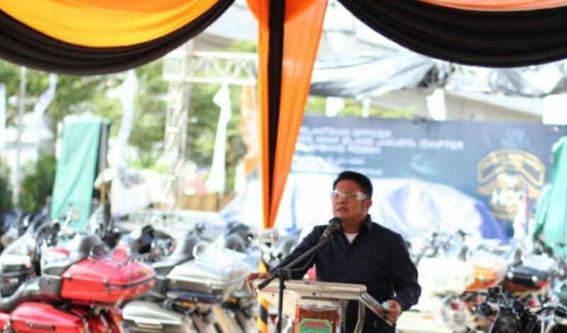 Suasana peresmian show room Harley Davidson di Palembang, sesuai standar New Normal. (foto : obey)