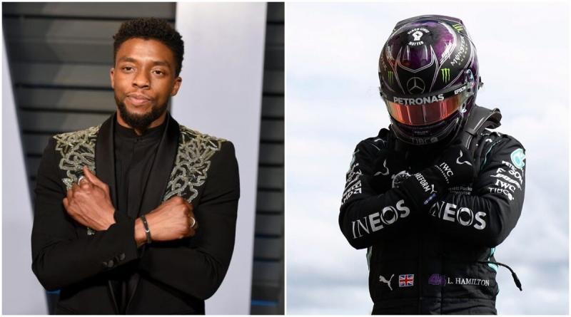 Lewis Hamilton (Mercedes) dan almarhum Chadwick  Boseman.  (Foto: reportdoor)