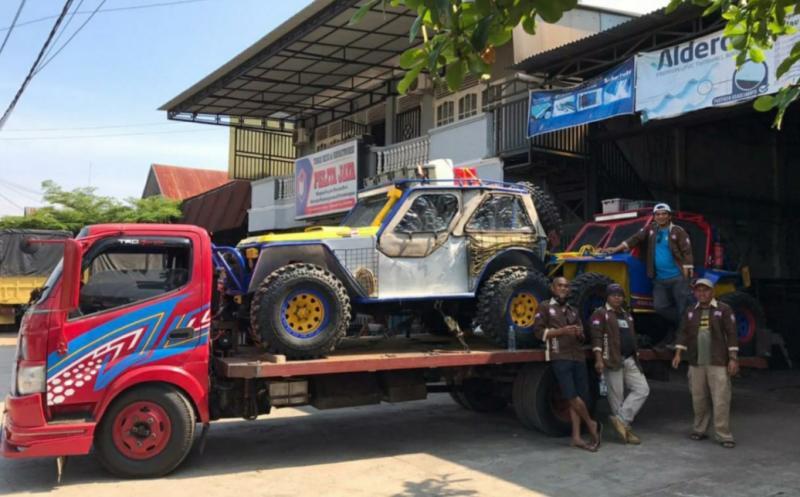 Offroader Sago 4x4 siap berangkat menuju Kabupaten Kampar, Riau. (foto : sago)