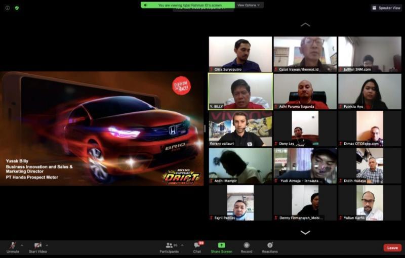 Preskon Zoom Meeting PT. Honda Prospect Motor terkait Brio Virtual Drive Challenge