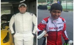 Rama Danindro (kiri) pegokart kelas dunia dan Daffa AB pegokart nasional Junior