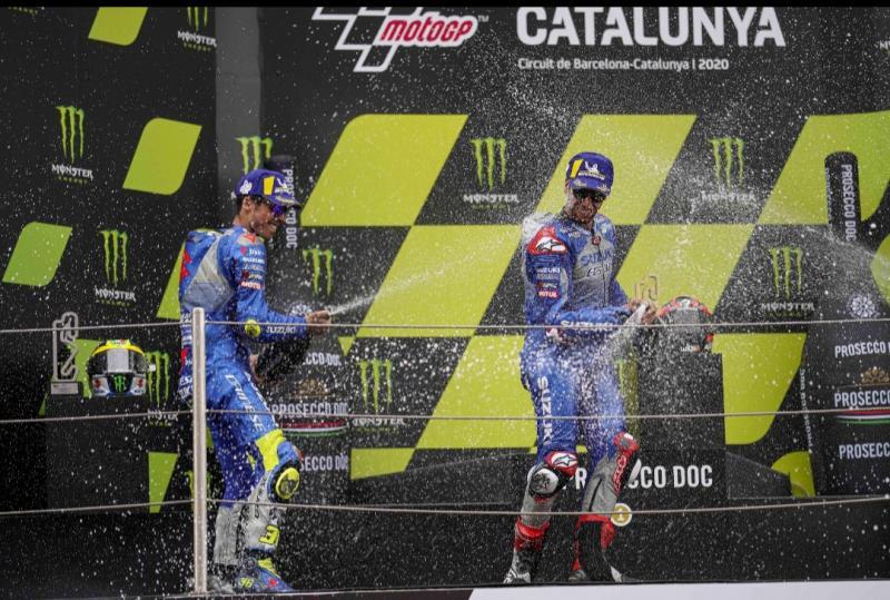 Joan Mir dan Alex Rins membawa Suzuki Ecstar Team ke podium MotoGP Catalunya Spanyol