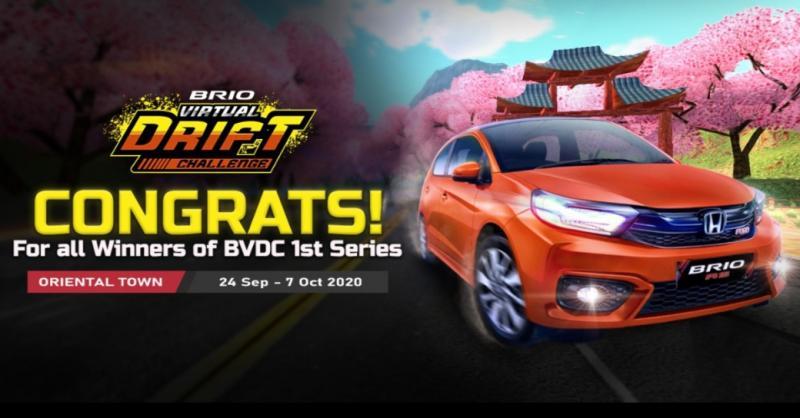Toid Adiyanto Juara Seri 1 Brio Virtual Drift Challenge 2020 yang digelar Honda