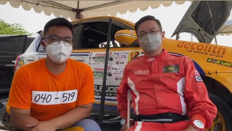 Anjasara Wahyu (kiri) dan Hongki Regina di Tropical Sprint Rally 2020 Tanjung Lesung, Pandeglang, Banten