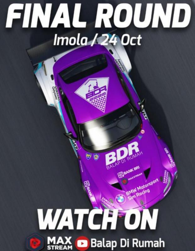 Final round BDR Race Against Pandemic di sirkuit Imola Italia malam ini pukul 19.00 WIB di livestreaming MAXStream dan youtube Balap di Rumah
