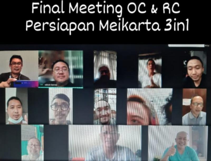 Final meeting OC dan RC Meikarta 3in1 melalui Google Meet dengan personil dari IMI Jabar, DKI, DIY dan Jatim kemarin