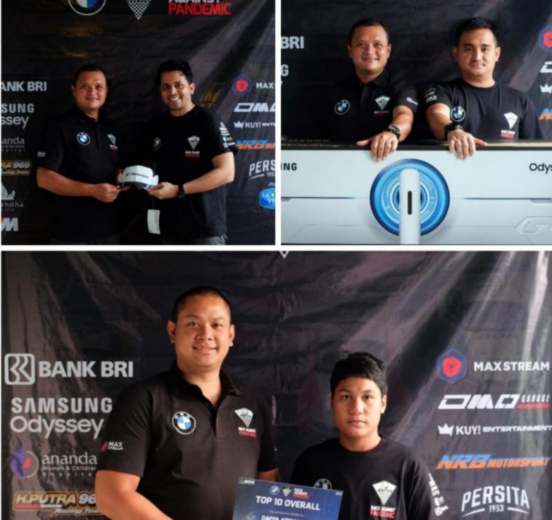 Searah jarum jam, dari atas perwakilan Moreno Pratama, Jaka Siswoyo terima hadiah utama Samsung Odessey dari Rizal Sungkar dan Rama Danindro serahkan hadiah kepada Daffa AB. (foto : kolase)