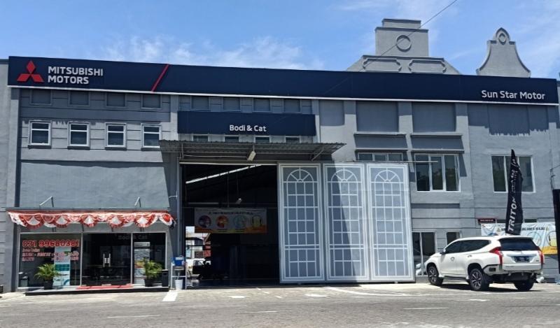 Fasilitas bodi & cat PT SUN Star Motor - Juanda, Sidoarjo sebagai bentuk nyata peningkatan layanan dealer 3S kepada konsumen dengan penambahan fasilitas perbaikan dan pengecatan body kendaraan.