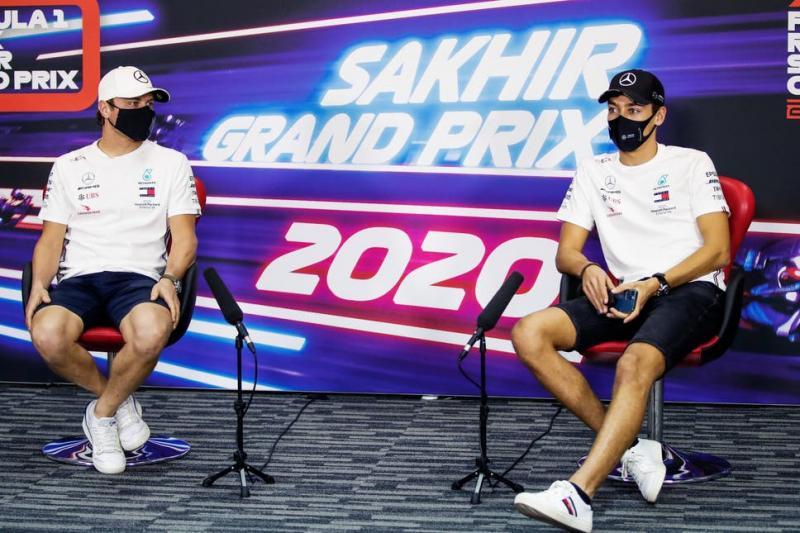 Valtteri Bottas dan George Russell dalam sesi jumpa pers di Sakhir, Bahrain. (Foto: ist)
