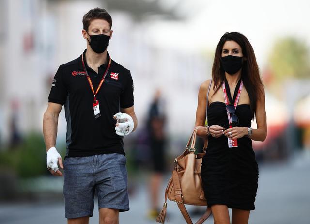 Romain Grosjean (Prancis/Haas) dan istri. (Foto: ist)