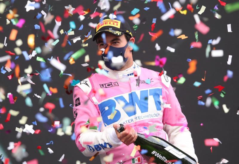 Sergio Perez saat meraih kemenangan perdana buat Meksiko di kancah F1. (Foto: f1)