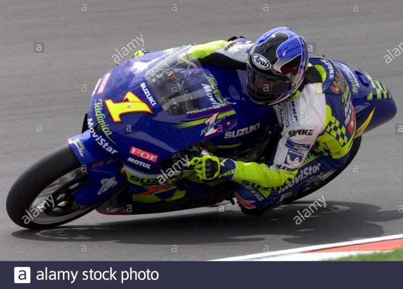 Kenny Roberts Jr pada musim 2001, kali terakhir motor Suzuki bernomor 1 di kelas primer. (Foto: alamy)