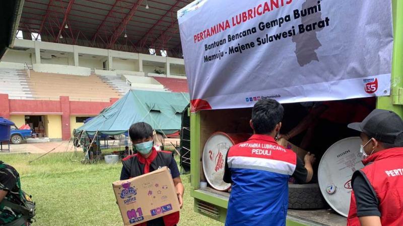 Pertamina Lubricants Peduli Gempa di Sulawesi Barat dengan juga menggratiskan penggantian oli