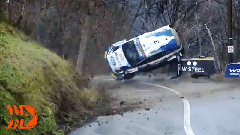 Mobil Teemu Suninen (M-Sport) yang terbang dan masuk jurang di Rally Monte Carlo 2021. (Foto: ist)