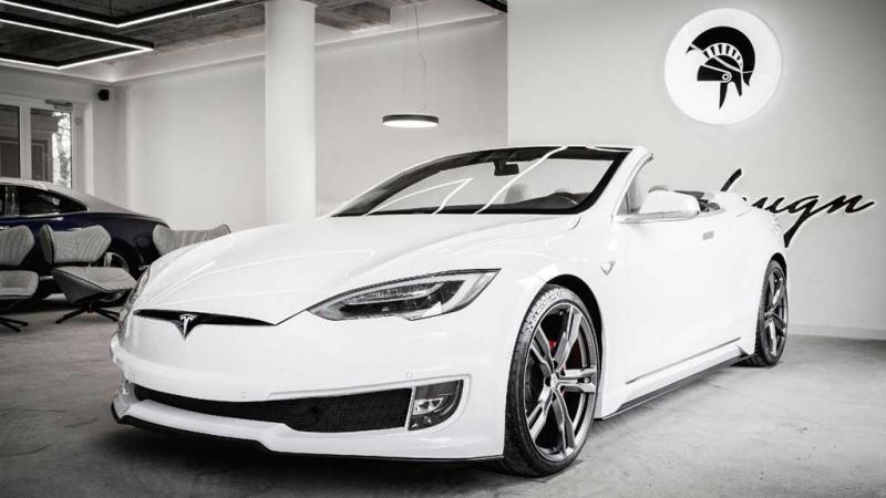 Modifikasi Tesla Model S menjadi convertible, realisasi konsep out of the box