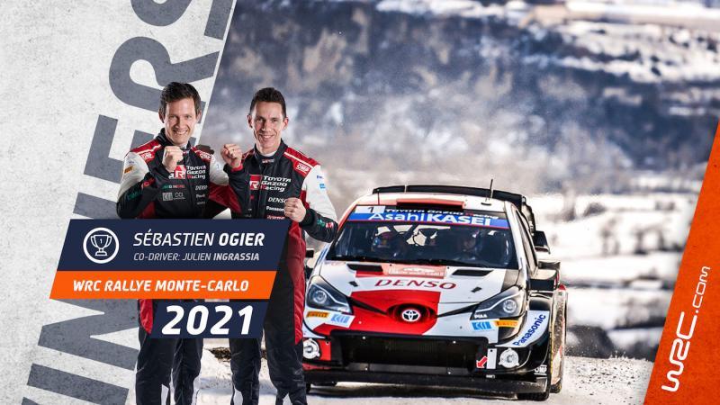Pasangan Sebastien Ogier - Julien Ingrassia usai memenangi Rally Monte Carlo 2021 dengan Toyota Yaris WRC. (Foto: wrc)