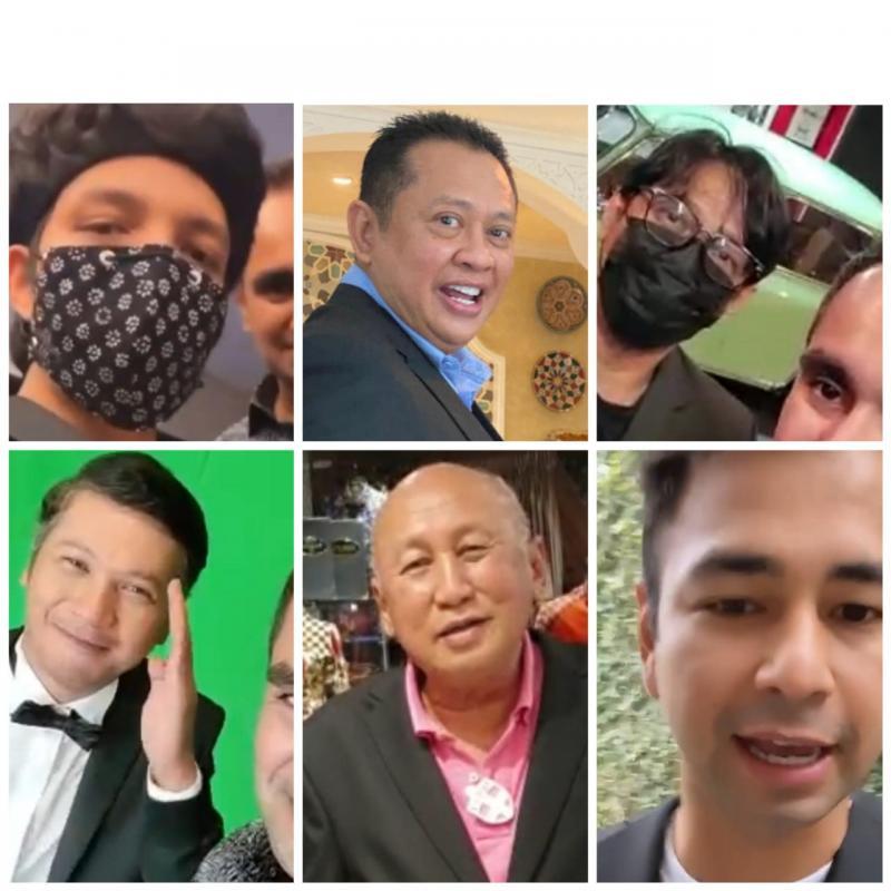 Searah jarum jam, kiri atas Atta Halilintar, Bamsoet, Andre Taulany, Raffi Ahmad, H.Tinton Soeprapto dan Gading Martin. (foto : kolase)