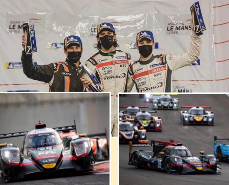 Sean Gelael bersama team mate Tom Blomqvist dan Stoffel Vandoorne, kembali P1 di Asian Le Mans Series, Abu Dhabi. (foto : kolase)