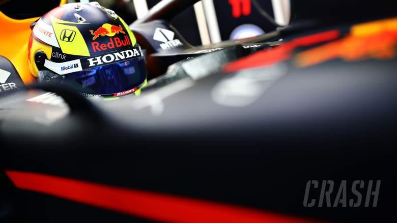Helm baru Sergio Perez saat lakoni debut hari ini di kokpit RB15 milik tim Red Bull. (Foto: crash)