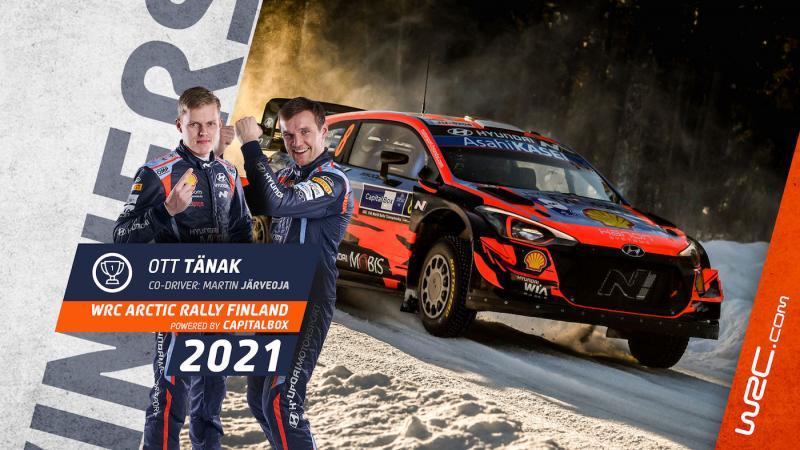 Ott Tanak dan navigator Martin Jarveoja bawa kemenangan perdana Hyundai di WRC 2021. (Foto: wrc)